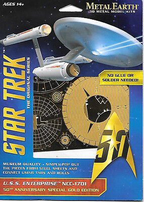Star Trek TOS TV Enterprise Metal Earth 50th Anniversary Gold 3-D Model Kit NEW