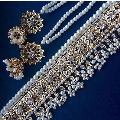 Indian  wedding jewellery set, Gold pearls earrings necklace White beads
