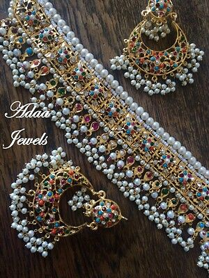 Indian  wedding jewellery set earrings necklace Multi Colour Pearl Tika Jhumar