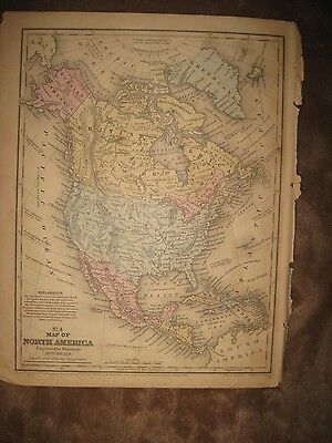 Antique 1858 North America United States Canada Mexico Texas Alaska Handcolr Map