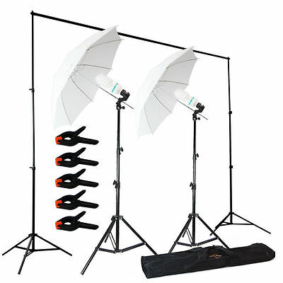 Photo Photography Umbrella Lighting Kit Studio Light Bulb Backdrop Stand USA