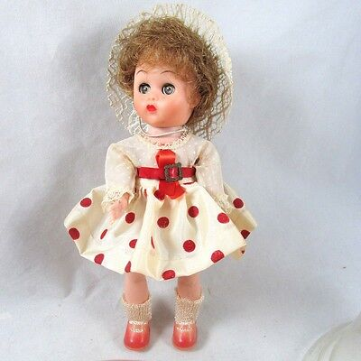 A&H Doll Ginny Type Walker in Plastic Bell Case Vintage 1960s Transitional