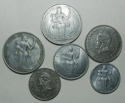 6 X French Colonial Coins - Pacific