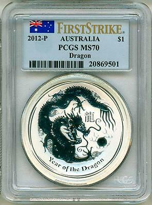 2012 S$1 Australia Lunar Year Of The Dragon First Strike PCGS MS70