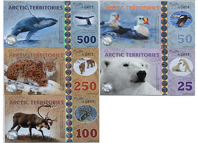 Set, Arctic Territories, $25;50;100;250;500 2016, Polymer, UNC > Animals