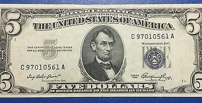 1953 $5 Blue Choice VF SILVER Certificate X561 Old US Paper Money Currency!