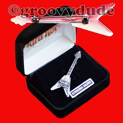 Boston Hard Rock Cafe Guitar Pin Flying V Sterling Silver Series HRC New In Case