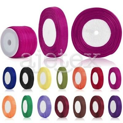 "50 Yards Organza Ribbon 1/8"" 1/4"" 3/8"" 5/8"" 3/4"" 1"" 2/3"" 2"" 3-50mm Craft Wedding"