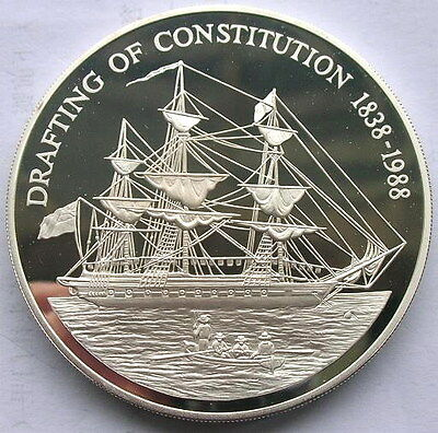 Pitcairn 1988 Drafting of Constitution 50 Dollars 5oz Silver Coin,Proof