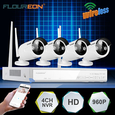 4CH 1080P Funk HD Wifi IP DVR NVR Überwachungskamera Video Sicherheitssystem SET