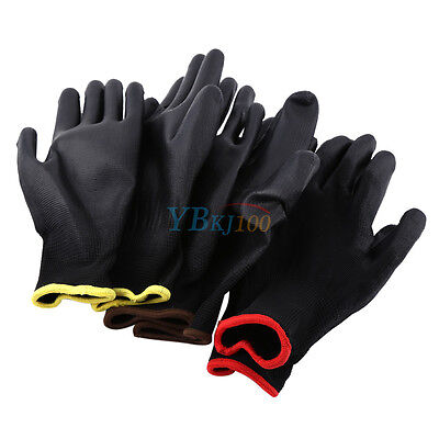 12/24 Pairs Nylon Work Safety Gloves PU Coated Worker Hand Palm Grip Protect DH