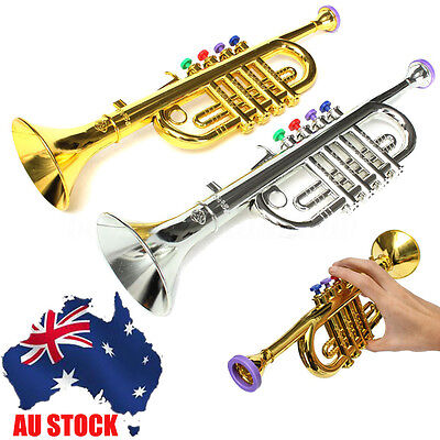AU Mini Golden/Silver Horn Trumpet Musical Instrument Toy Educational Kid's Gift