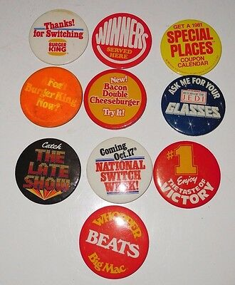 1980's Burger King Employee Promotional Button Pins