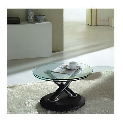 Tokyo Rotating Coffee Table In Clear Glass Top With Black Base