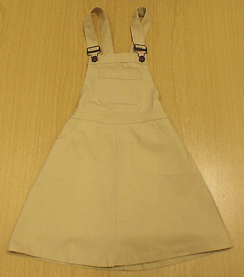 VINTAGE 1970's UNWORN GIRLS BIB N BRACE CANVAS SKIRT BEIGE AGE 5-6 YEARS