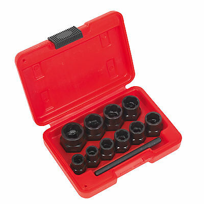 """Sealey AK8184 Bolt Extractor Set 10pc 3/8""""Sq Drive or Spanner"""