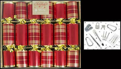 6 Mini Luxury Red Tartan Crackers Christmas Table Decorations Xmas Accessories