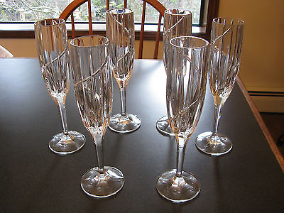 6 Mikasa Crystal UPTOWN Champagne Flute Glasses