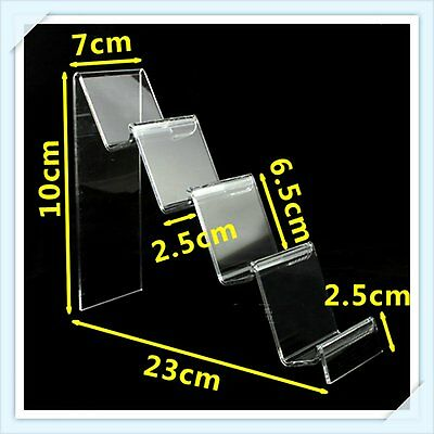 2 Pcs x 4-Tier Step Clear Acrylic Retail Display Stand Handbags Purse 10 cm H