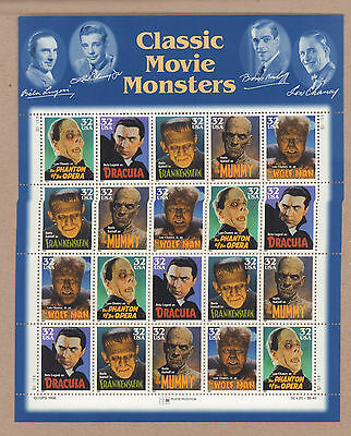 {BJ STAMPS}  #3168-72  Movie Monsters MNH 32 Cents Sheet of 20 Issued 1997