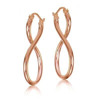 Rose Gold Tone over Sterling Silver Figure 8 Infinity Polished Drop Earrings