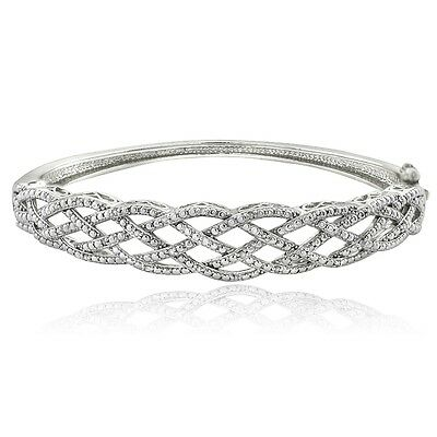 0.25ct Natural Diamond Weave Bangle Bracelet in Gold or Silver Plated Brass