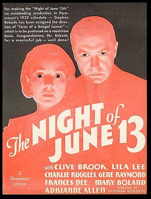 1932 Clive Brook Lila Lee photo The Night of June 13 movie trade vintage ad