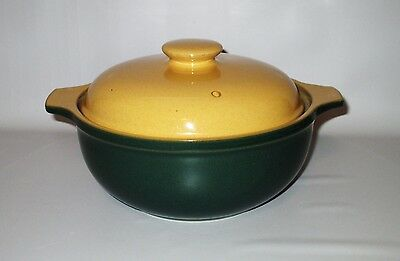 Denby Spice Round Covered Casserole Green Yellow 1.5 Qt 1990s Stoneware England
