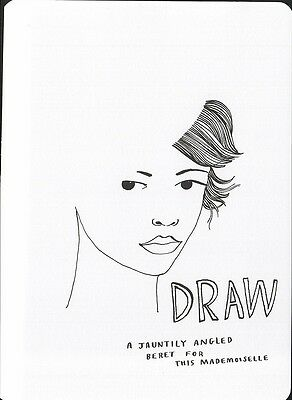(16962 ) Colour It In Postcard - Fashion - Draw a Jauntily Angled Beret