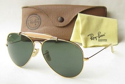 EXC VINTAGE 80s B&L RAY BAN USA SUNGLASSES OUTDOORSMAN BL LARGE AVIATOR 62 GOLD
