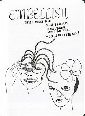 (16964 ) Colour It In Postcard - Fashion - Embellish these Masks with More