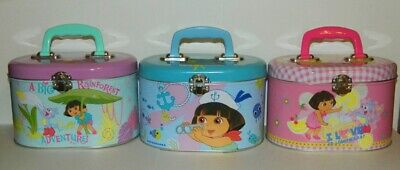 Dora the Explorer Set of Three Illustrated Tin Sewing Box Totes, NEW UNUSED