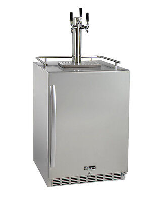 Kegco HK38SSU-3 3-Tap Outdoor Built-In Kegerator w/Premium Dispense Kit