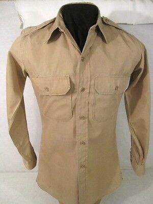 WWII US Army Officer's Summer Cotton Uniform Shirt 4th Pat No Gas Flap 14.5 X 32