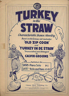 1927 Sheet Music ~ TURKEY IN THE STRAW ~ Arranged by Calvin Grooms