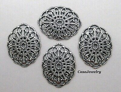 #0256 ANTIQUED SS/P DOMED OVAL OPEN FILIGREE - 6 Pc Lot