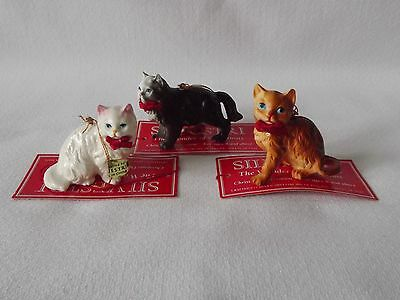 Lot/Set Of 3 Silvestri Cat W/Red Bow Christmas Ornaments Black White Orange New