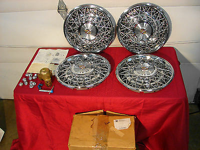76-84 Cadillac Deville, Calais Fleetwood Brougham Nos Wire Wheel Covers Hubcaps