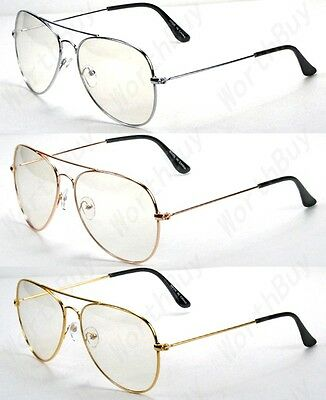 New Mens Womens Clear Lens Metal Frame Eye Glasses Fashion Eyewear Nerd Pilot 09