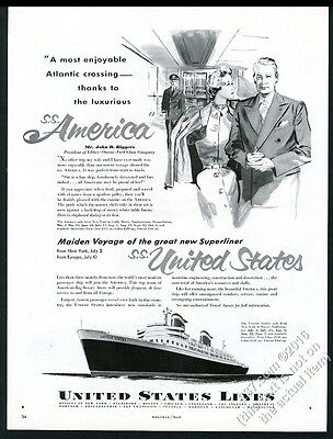 1952 SS S.S. United States ship maiden voyage United States Lines vintage ad