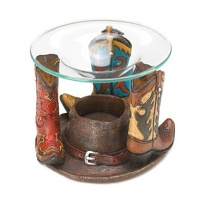 Cute Rustic Western Ranch Cowboy Boots Candle Oil Warmer Burner NEW Home Decor