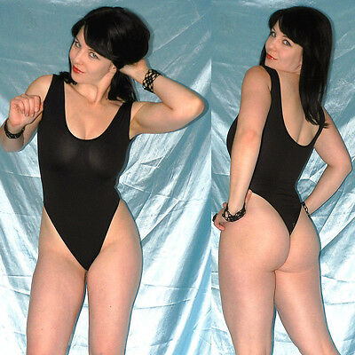 stretchig weicher STRINGBODY schwarz S 36/38 Gymnastikanzug* Dessous transparent