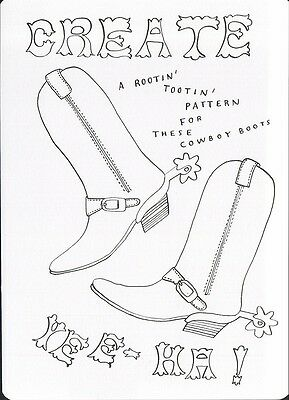 (16976 ) Colour It In Postcard - Fashion - A Pattern for these Cowboy Boots