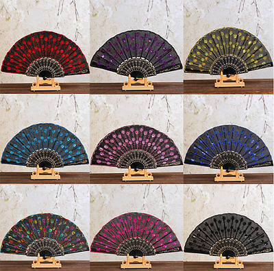 10 Colors Black Sequins Women Embroidery Fan Dance Peacock Tail Folding Fan