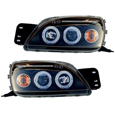 Ford Fiesta Mk5 1999-2002 Black Angel Eye Halo Projector Headlights Pair