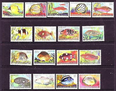 COCOS Islands - 1979 1980   FISH  Definitive set of 17 to $2  MNH - Marine life