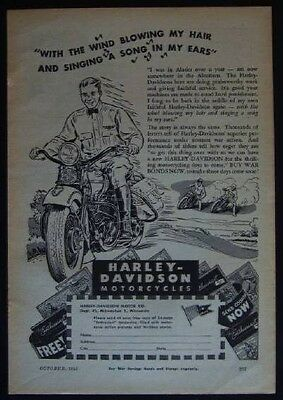 1944 Harley Davidson Motorcycles *With the Wind Blowing my Hair* vintage WWII AD