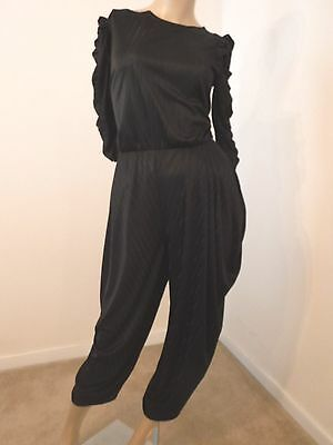 1980s DIAMOND RUN BLACK SHEER-ISH HAREM PANTS DISCO JUMPSUIT 1 PIECE M 36