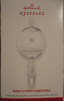 Hallmark Baby's First Christmas ornament baby rattle 2013 glass snowglobe New