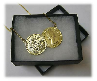 Lucky Double Sixpence Necklace With 18ct Gold Plated Sterling Silver Chain NEW